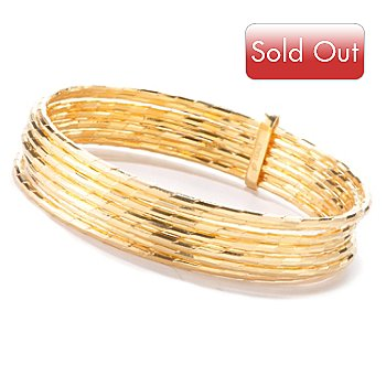 121-199 - Milano Luxe Gold Embraced™ Diamond Cut Slip-on Bangle Set w/ Connector Slide