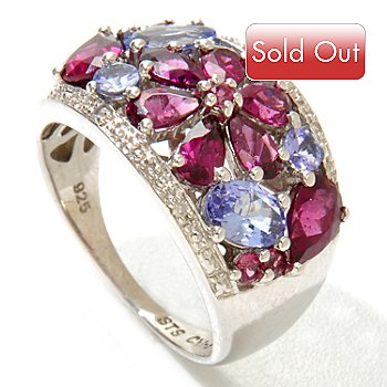 121-206 - NYC II 3.30ctw Rhodolite Garnet, Tanzanite & Diamond Flower Ring