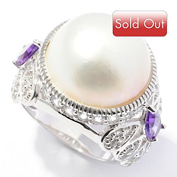 121-401 - Gem Insider Sterling Silver 15.5-16mm Mabe Cultured Pearl & Multi Gem Ring