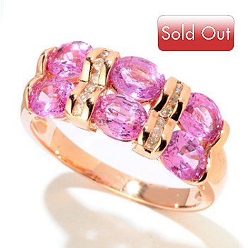 121-427 - Gem Treasures 14K Rose Gold 2.72ctw Pink Sapphire & Diamond Two-Row Ring