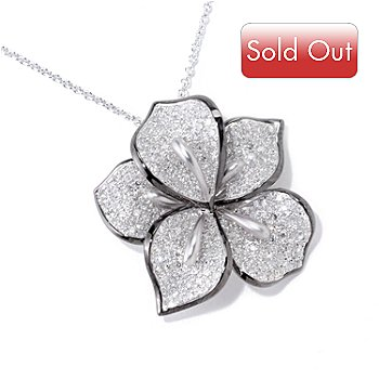 121-433 - EFFY 14K White Gold 0.95ctw Diamond Flower Pendant w/ 18'' Chain
