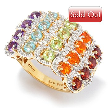 121-444 - NYC II 1.96ctw Multi Gem & Diamond Accent Rainbow Band Ring