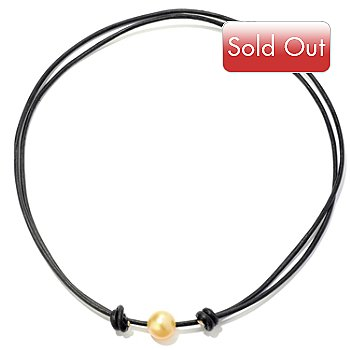 121-469 - 30'' 11mm Golden South Sea Cultured Pearl Adjustable Leather Cord Necklace