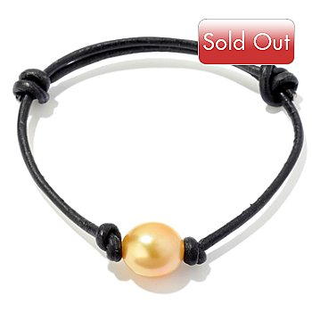 121-470 - 8.5'' 10mm Golden South Sea Cultured Pearl Adjustable Leather Cord Bracelet