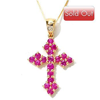 121-473 - Gem Treasures 14K Gold 1.51ctw Ruby & Diamond Cross Pendant w/ Chain