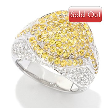121-477 - Gem Treasures Sterling Silver 2.64ctw Yellow Sapphire & White Zircon Pave Ring