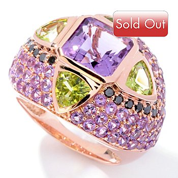 121-510 - Beverly Hills Elegance 14K Rose Gold 5.48ctw Multi Gemstone Ring