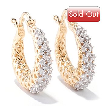 121-524 - Beverly Hills Elegance 14K Gold 0.60ctw Diamond Tapered Hoop Earrings