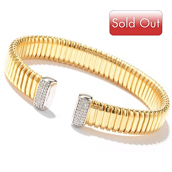 121-530 - Beverly Hills Elegance 14K Bonded 6.5'' 0.25ctw Diamond Bangle Bracelet