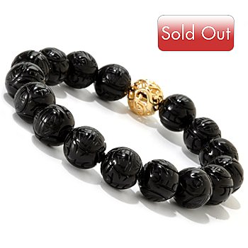 121-628 - 8'' Carved Onyx Bead Stretch Bracelet