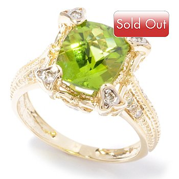 121-649 - The Vault from Gems en Vogue 14K Gold 3.15ctw Chinese Peridot & Diamond Ring