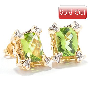 121-650 - The Vault from Gems en Vogue 14K Gold 2.98ctw Chinese Peridot & Diamond Earrings