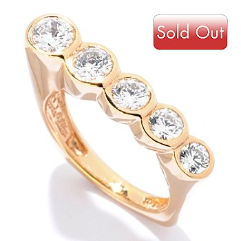 121-676 - Sonia Bitton for Brilliante® 1.00 DEW Round Cut Bezel Five-Stone Angled Square Ring