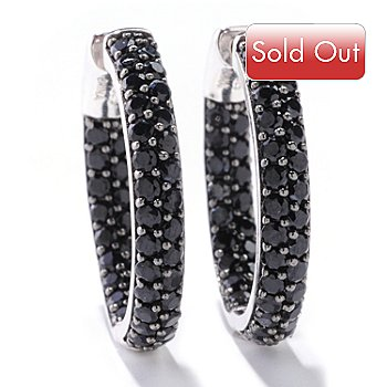 121-716 - Gem Treasures Sterling Silver 4.00ctw Black Spinel Hoop Earrings