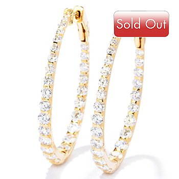 121-766 - Sonia Bitton for Brilliante® 4.82 DEW Tension Set Oval Hoop Earrings