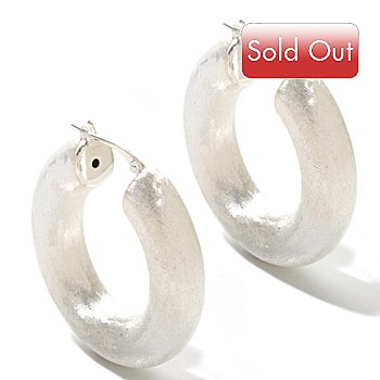 121-822 - SempreSilver™ Electroform Textured Hoop Earrings