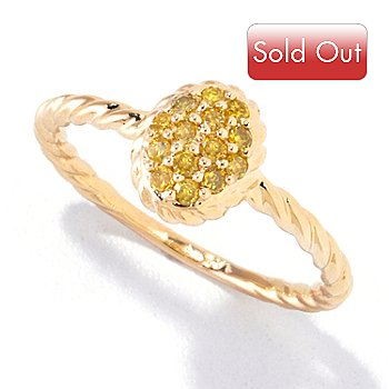 121-834 - Diamond Treasures 14K Gold 0.28ctw Yellow Diamond Twisted Ring