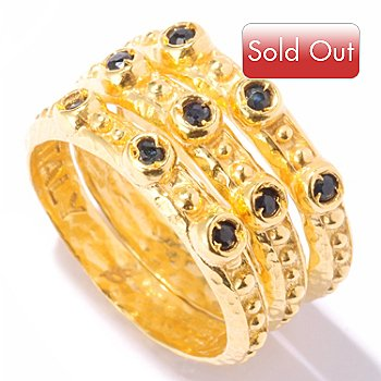 121-854 - Toscana Italiana Gold Embraced™ Set of Three Midnight Sapphire Stack Rings