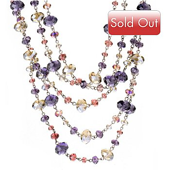 121-877 - Sweet Romance™ 17.5'' Silver-tone Multi Strand Crystal Bib Necklace