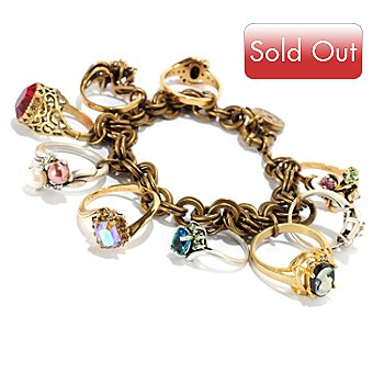121-879 - Sweet Romance™ Two-tone 8'' Antique Style Charm Bracelet