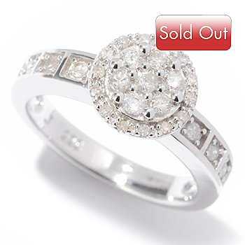 121-912 - Diamond Treasures Sterling Silver 0.35ctw Diamond Solitaire Ring