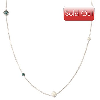 121-940 - Diamond Treasures Sterling Silver 37'' 1.75ctw Blue Diamond Station Necklace