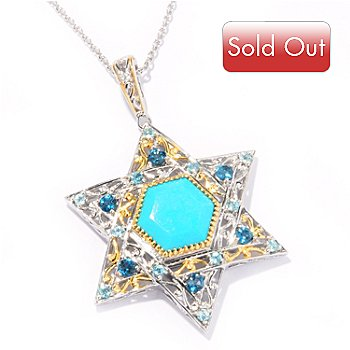121-951 - Gems en Vogue II 12mm Turquoise & Multi Gemstone Star of David Pendant w/ Chain