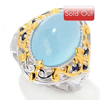 121-953 - Gems en Vogue II 14 x 10mm Blue Aragonite & Sapphire Ring