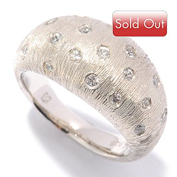 122-110 - Michelle Albala Scattered White Sapphire Brushed Dome Ring