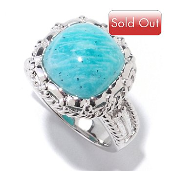 122-132 - Gem Insider Sterling Silver 11.5mm Amazonite Round Ring