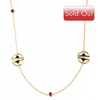 122-156 - Omar Torres 32'' Onyx & Brazilian Rose Garnet ''Half & Half'' Station Necklace