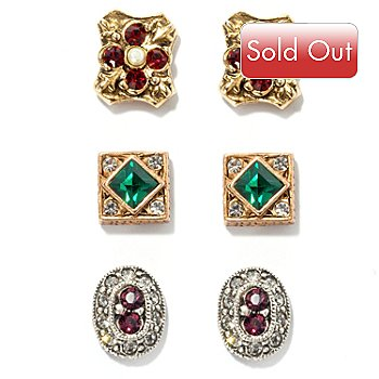 122-203 - Sweet Romance™ Set of Three ''Royal Renaissance'' Earrings
