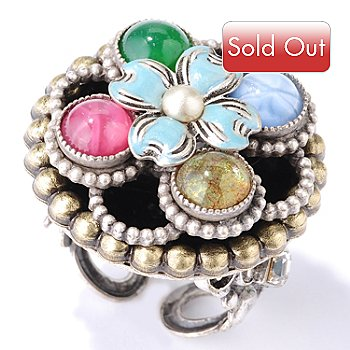 122-211 - Sweet Romance™ Silver-tone Vintage Inspired Glass & Crystal Figure Eight Ring