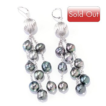 122-242 - Sterling Silver 9-10mm Tahitian Cultured Pearl Waterfall Earrings