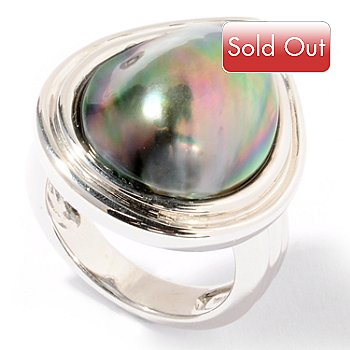 122-247 - Sterling Silver 19 x 15mm Pear Shaped Tahitian Mabe Cultured Pearl Ring