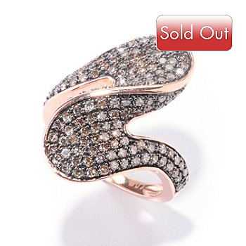 122-265 - Diamond Treasures 14K Rose Gold 1.00ctw Mocha Diamond Wave Ring