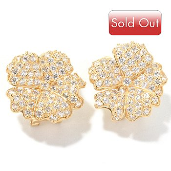 122-320 - Sonia Bitton for Brilliante® Platinum Embraced&trade 4.04 DEW Lotus Flower Earrings