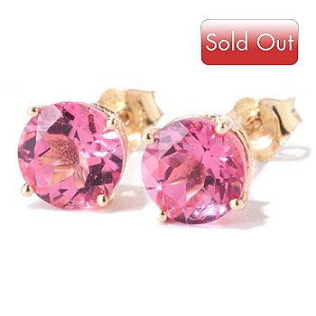 122-339 - Gem Insider 14K Gold 1.62ctw Tourmaline Stud Earrings