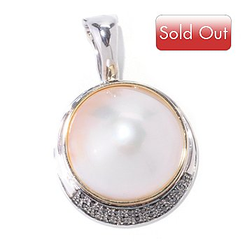 122-349 - Sterling Silver 20-22mm Mabe Cultured Pearl & Black Diamond Enhancer Pendant