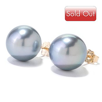 122-356 - 14K Gold 11-12mm Platinum Tahitian Cultured Pearl Stud Earrings