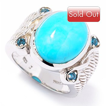 122-363 - Gem Insider Sterling Silver 16 x 12mm Turquoise & London Blue Topaz Ring