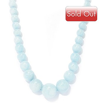 122-371 - Gem Treasures Sterling Silver Aquamarine Bead Necklace w/ Magnetic Clasp