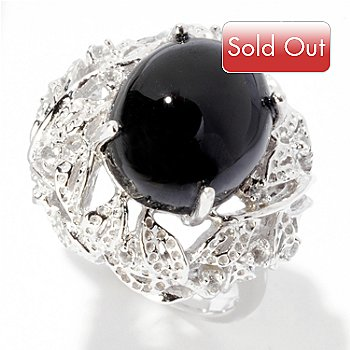 122-425 - Gem Treasures Sterling Silver 12.5 x 10.5mm Black Tourmaline & White Topaz Ring