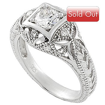 123-688 - Sterling Silver Simulated Diamond Vintage-Inspired Ring