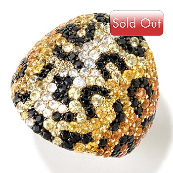 124-842 - EFFY Sterling Silver 4.25ctw Yellow & Black Sapphire ''Balissima'' Ring