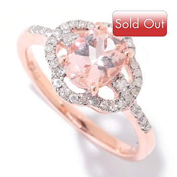 124-847 - Gem Treasures 14K Gold 8 x 6mm Oval Morganite & Diamond Halo Ring