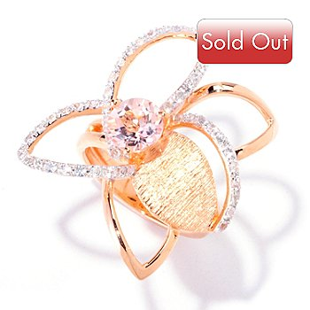 124-867 - Michelle Albala 1.69ctw Morganite & White Sapphire Flower Ring