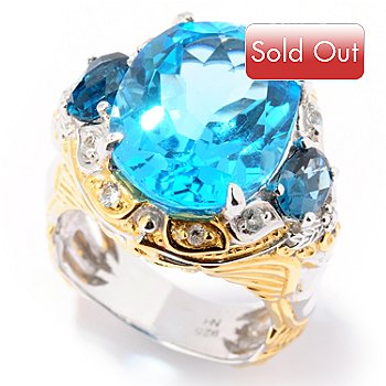 124-872 - Gems en Vogue II 12.58ctw Swiss Blue Topaz, London Blue Topaz & Sapphire Ring