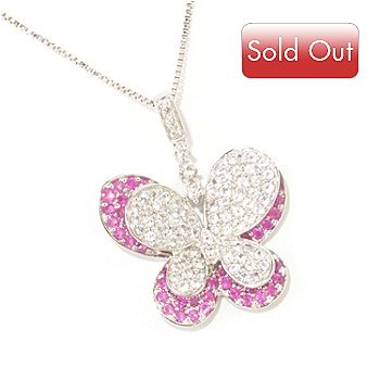 124-883 - Gem Treasures Sterling Silver 1.50ctw White & Pink Sapphire Butterfly Pendant w/ Chain