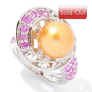 124-895 - Sterling Silver 10-11mm Golden Round South Sea Cultured Pearl & Pink Sapphire Ring